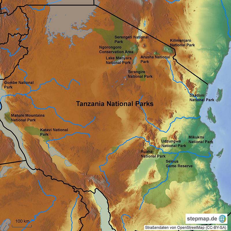 parchi nazionali della Tanzania, mappa