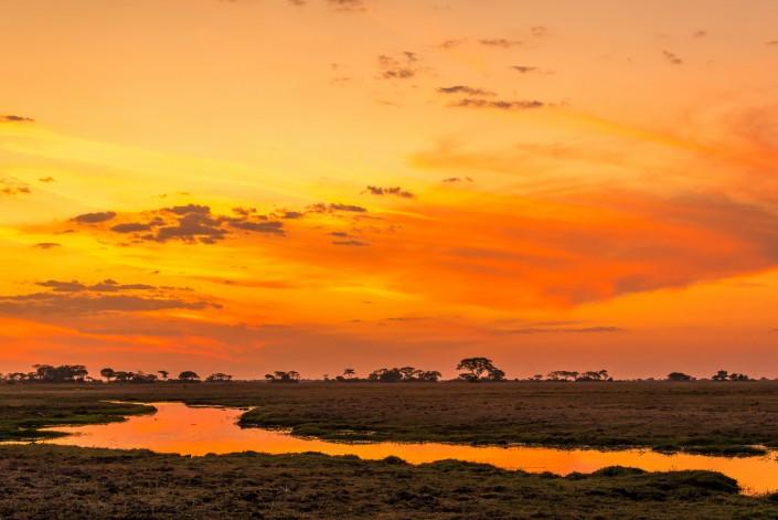 zambia, sunset kafue NP