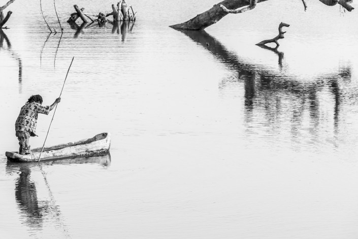 fisherman in the Luangwa River