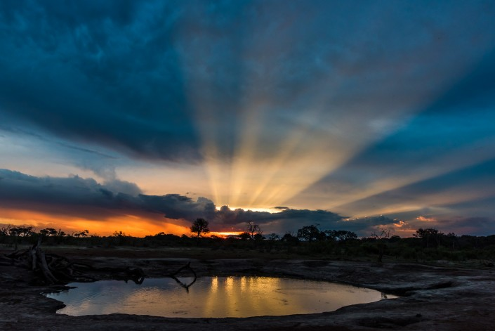 sunset in Hwange NP