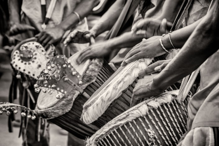 black and white, Carnival tam tams in Bissau