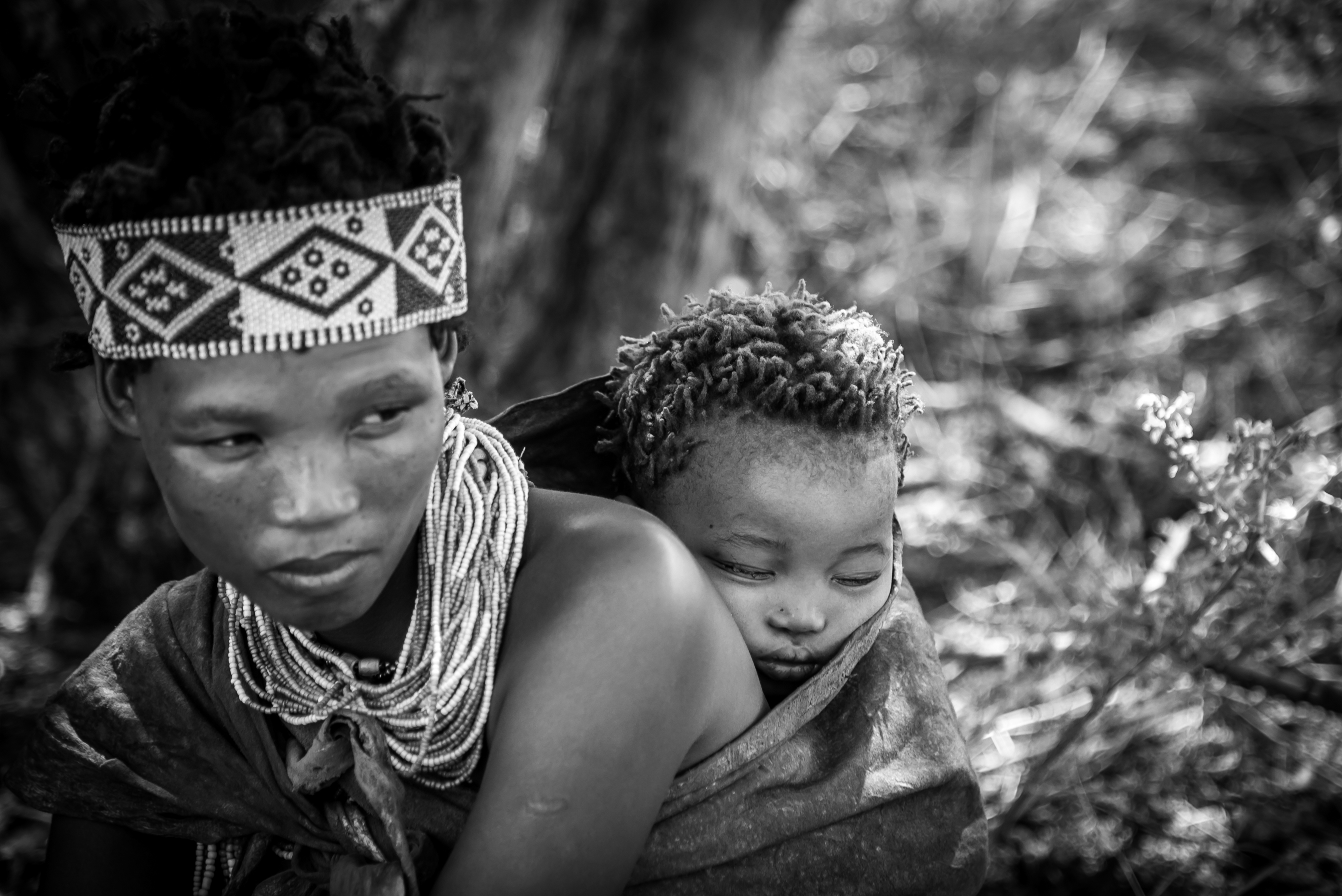 bushmen woman and child in namibia