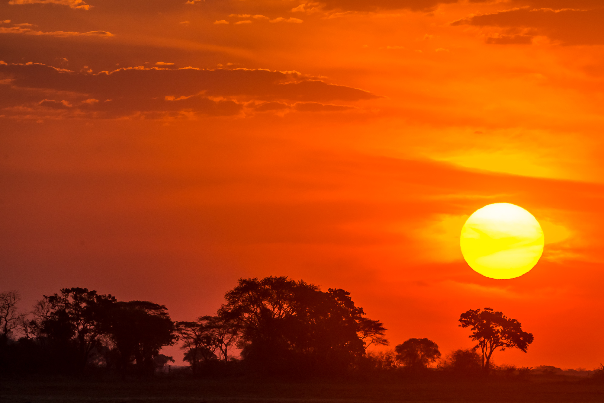 african sunset seen in zambia