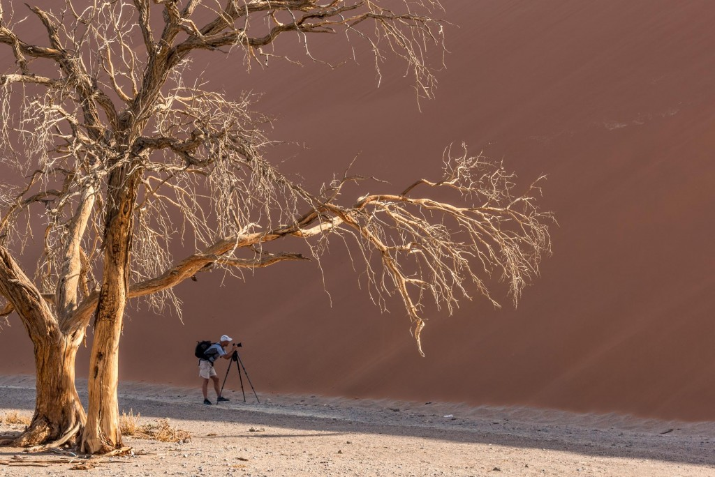 photographing dune 45 in the namib