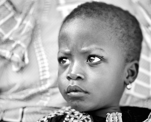 portrait of a young girl in black and white in Benin, westafrica