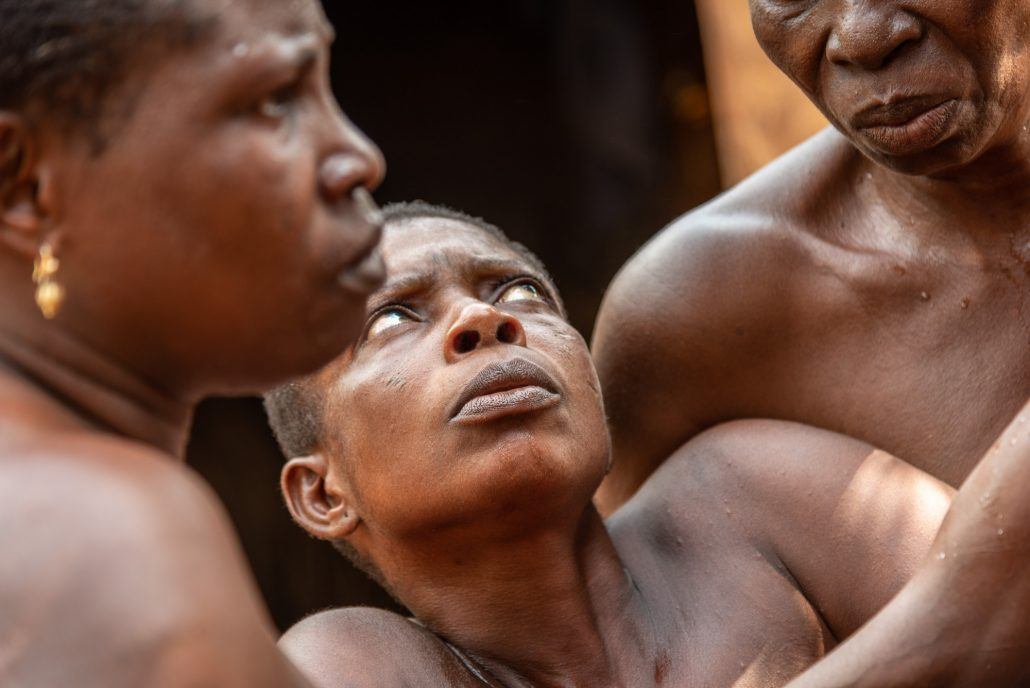Trance during a voodoo ceremony in Togo