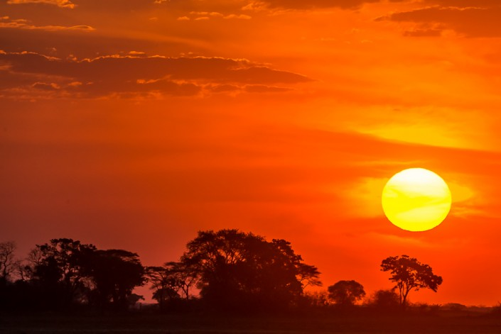 sunset, kafue national park zambia