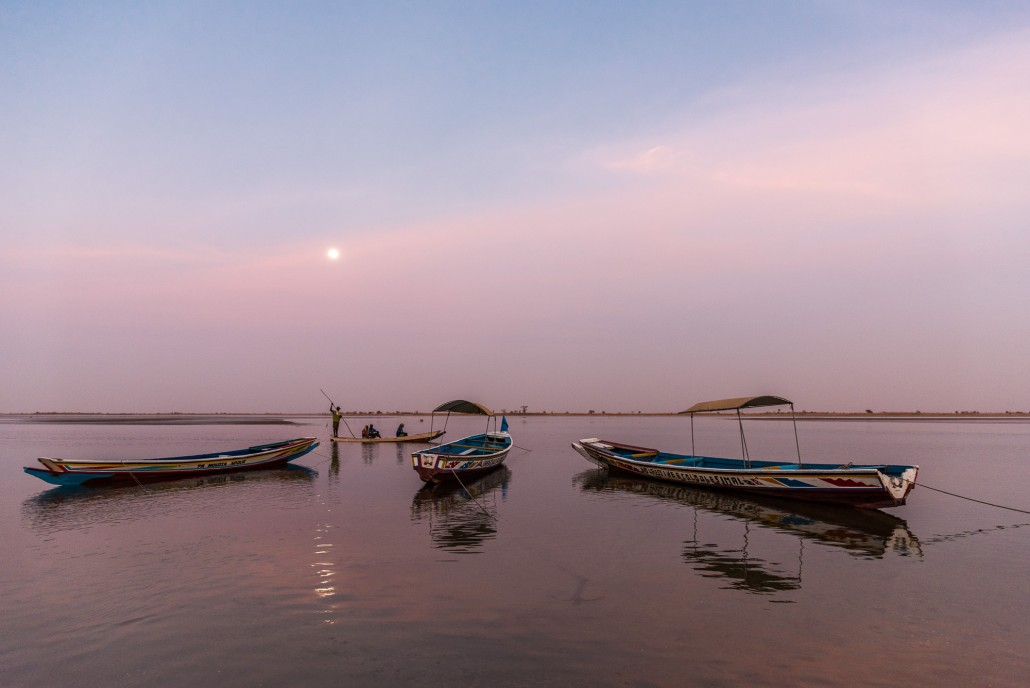 Senegal, moonrise over the Sine Saloum Delta