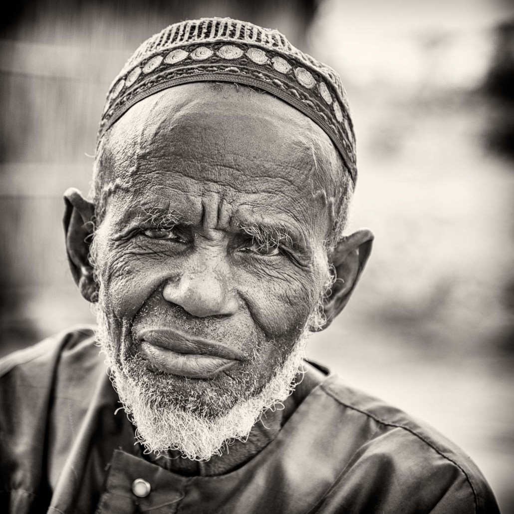 Senegal, portrait of an old man in black and white