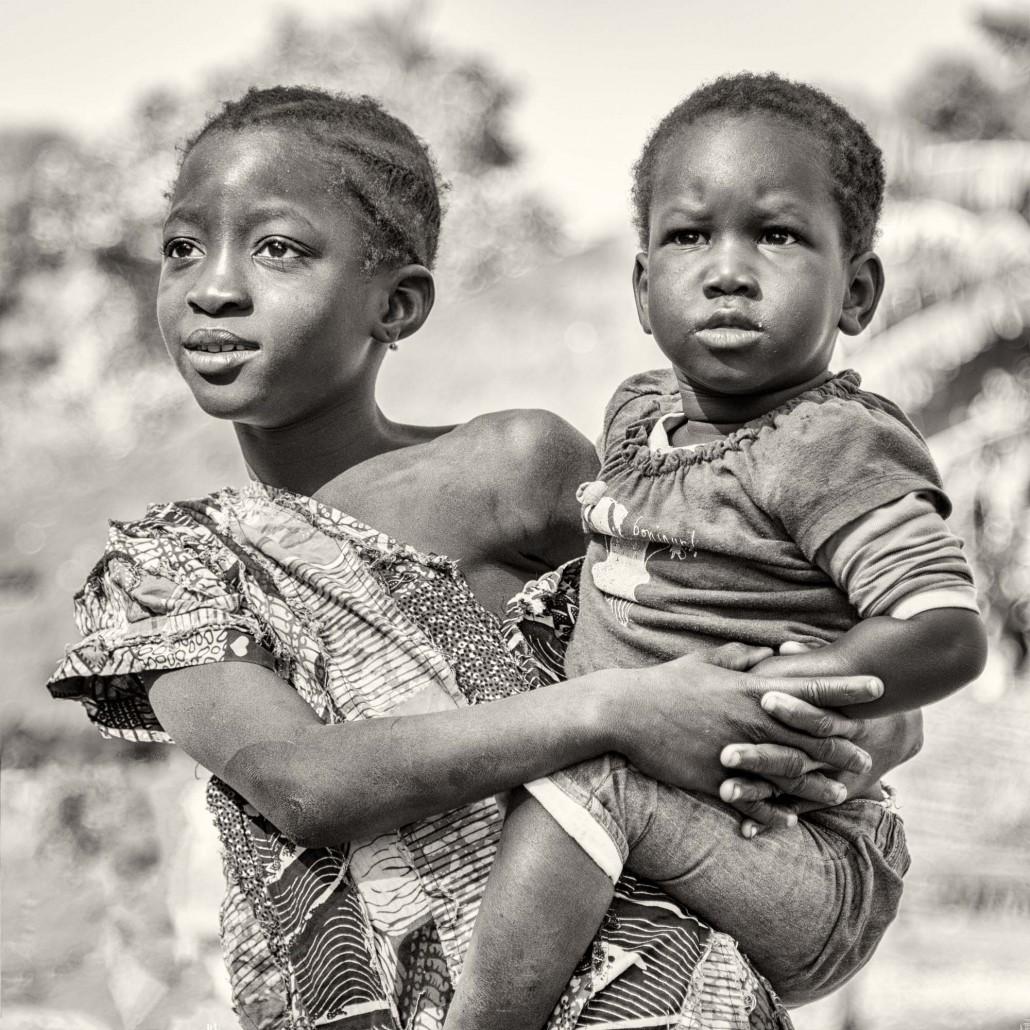 Senegal, bianco e nero, bambini nella Casamance