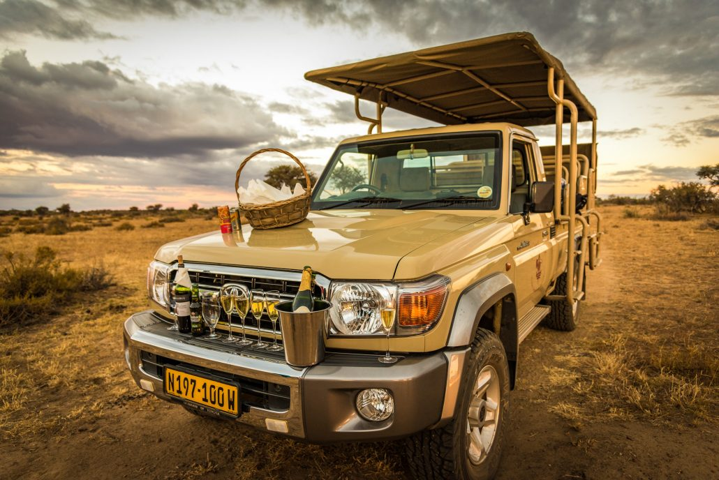 a sundowner during a game drive in namibia