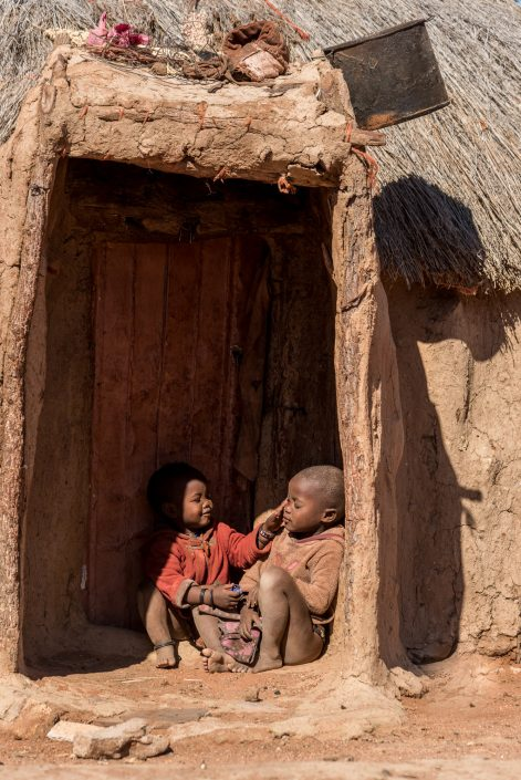 Namibia, children in the Himba village