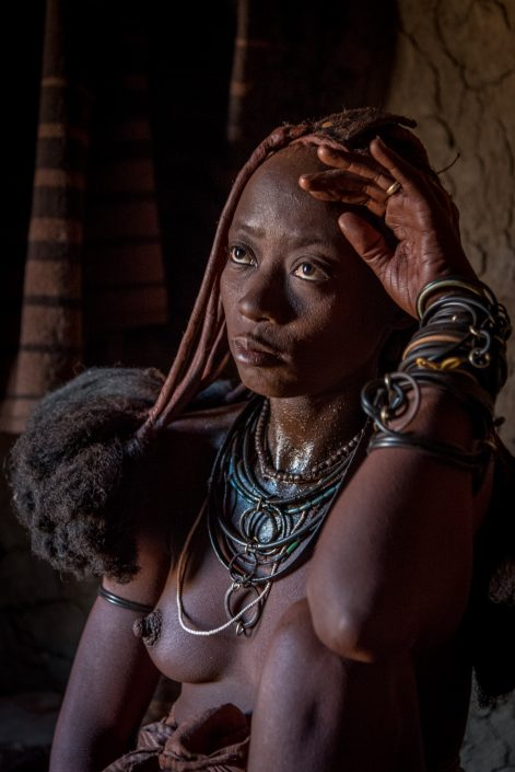 a Himba woman in Namibia, Kamanjab