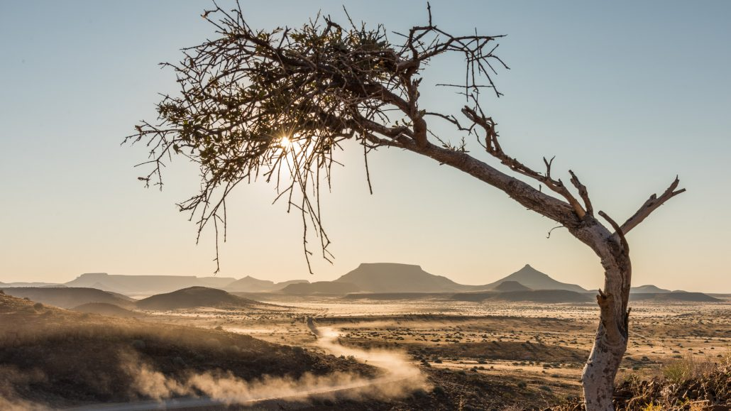 Damaraland, dusty landscape in namibia