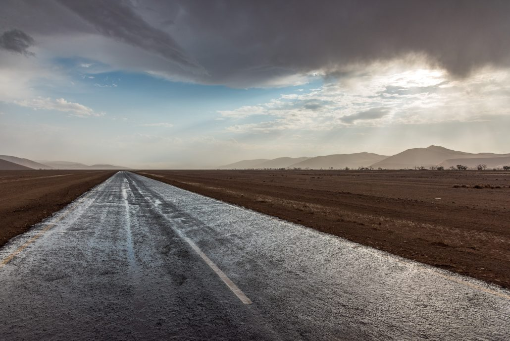 a wet road in namibia, Namib desert