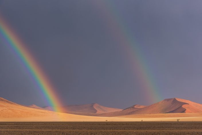 the rainbow over the dunes of the namib