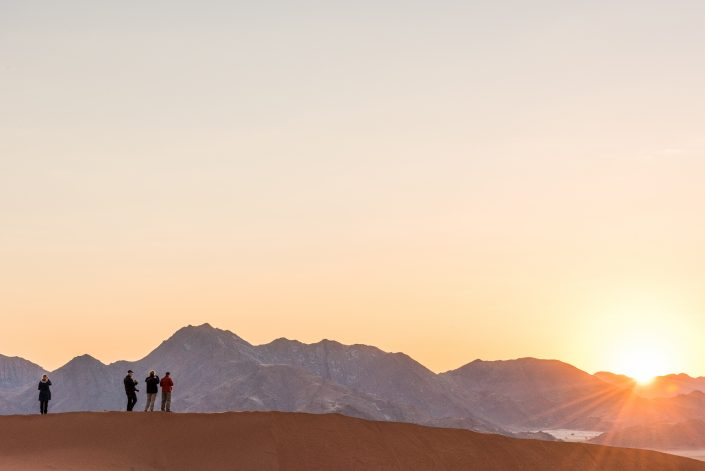 sunrise on the dunes of the namib