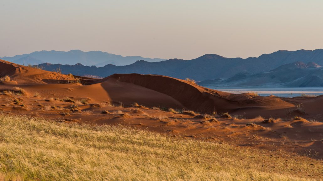 sunrise in the dunes of the namib