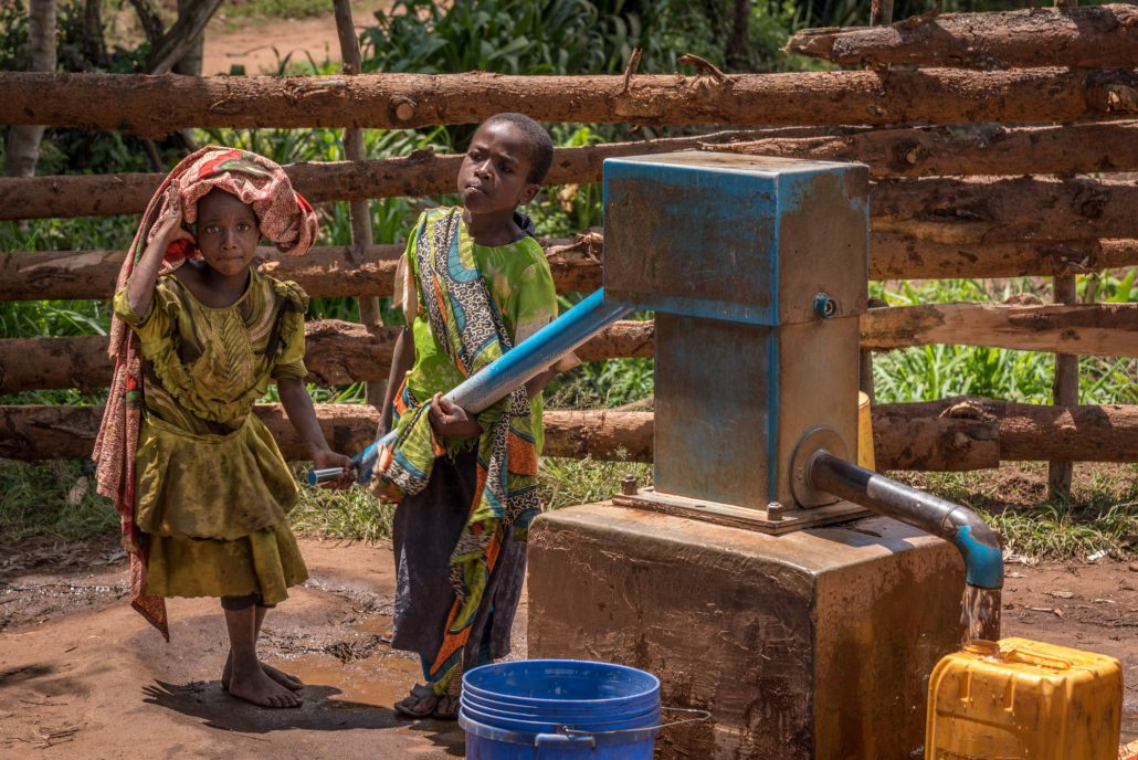 Usambara Mountains in Tanzania, Africa, a water pump