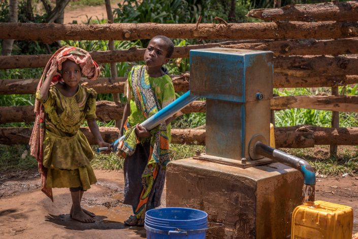 Usambara Mountains in Tanzania, Africa, a water pump