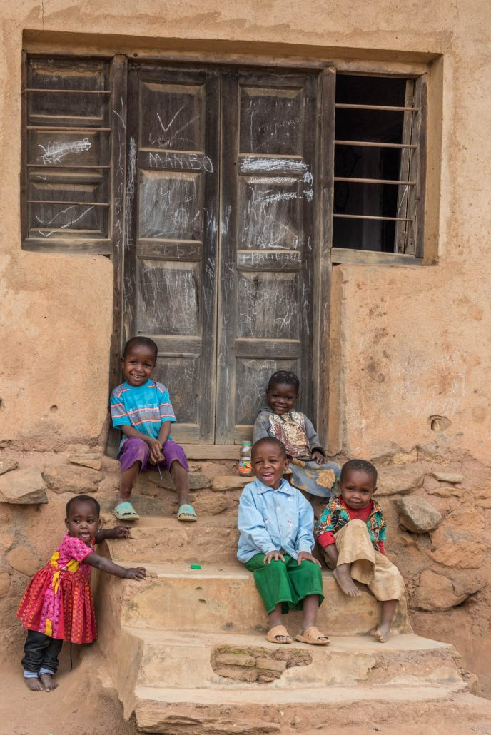happy kids in a village in the Usambara mountains.