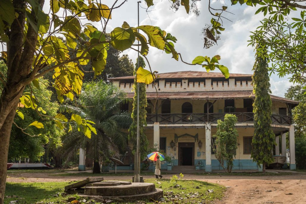 colonial building in the old town of pangani in tanzania