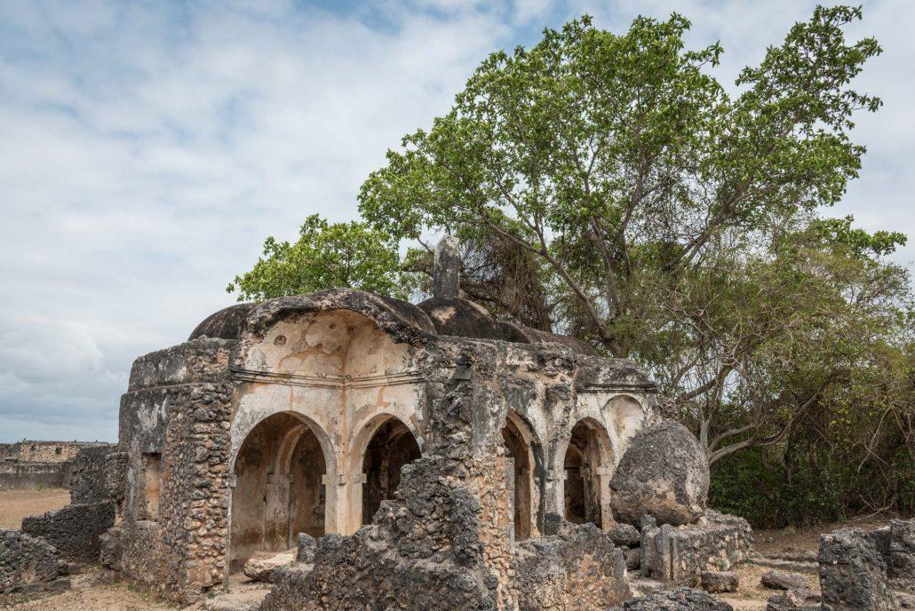 the ruins of the mosque of kilwa kisawani in tanzania