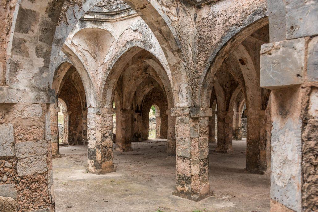 the mosque of Kilwa kisawani in southern tanzania