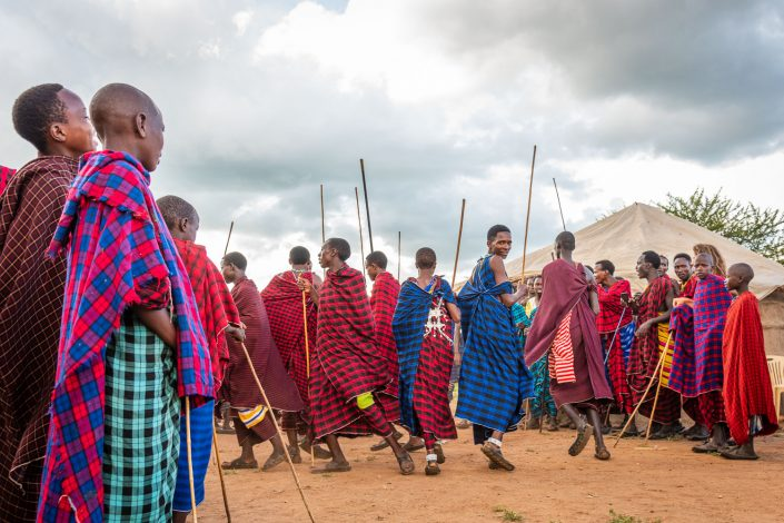 Tanzania, Dancing men at the Maasai Wedding