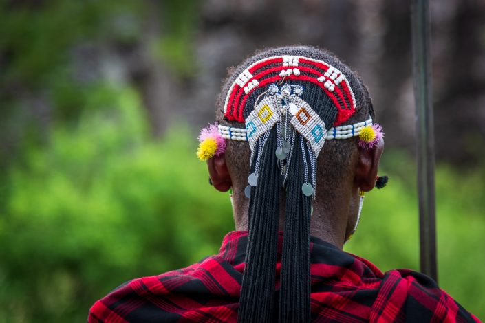Tanzania, The head decoration of a Maasai warrior