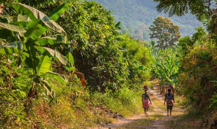 women heading home after farming, bosomtwe lake