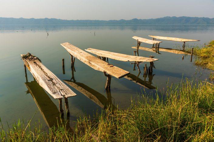 lake bosomtwe, fishing boats
