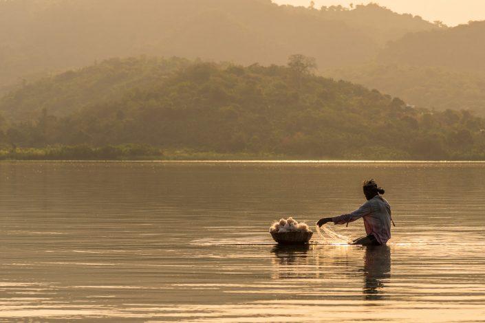 fisherman on lake bosomtwe