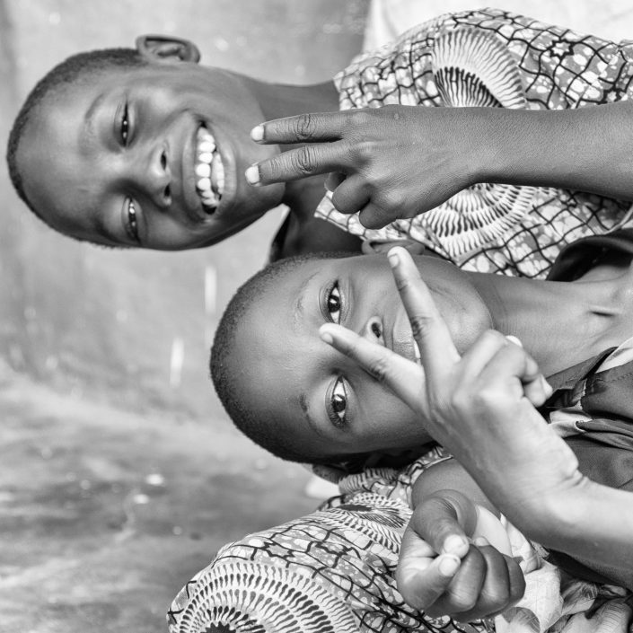 Kids in africa, black and white