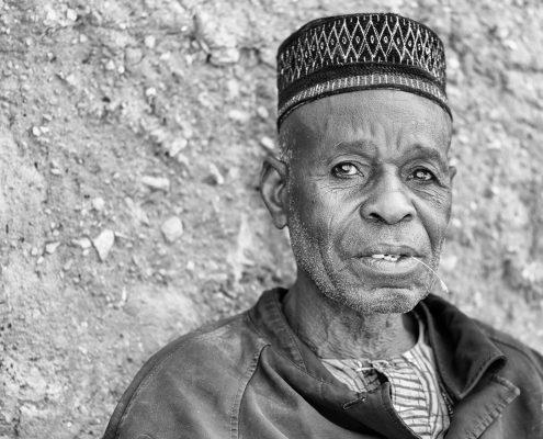 in taneka koko benin, portrait of a man in black and white