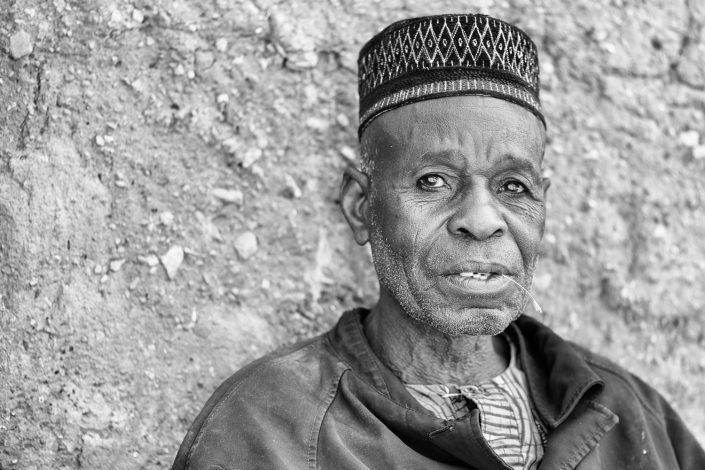 in taneka koko benin, portrait of a man in black and white