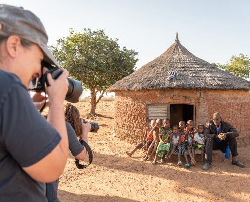 taking pictures in the fulani village in northern benin