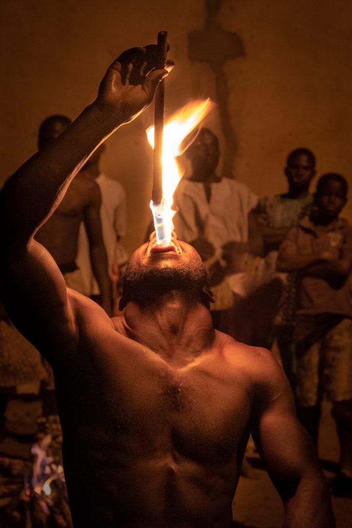 Africa, Togo, Sokodè, fire dance.