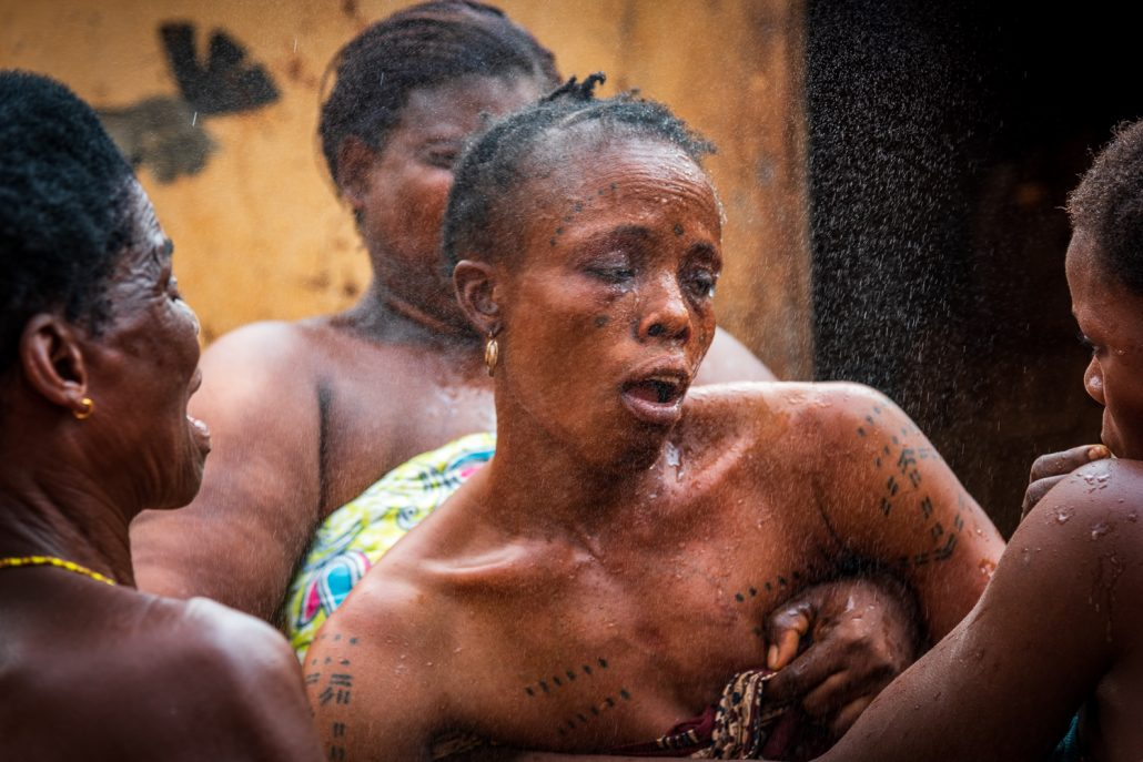 woman in trance during the voodoo ceremony