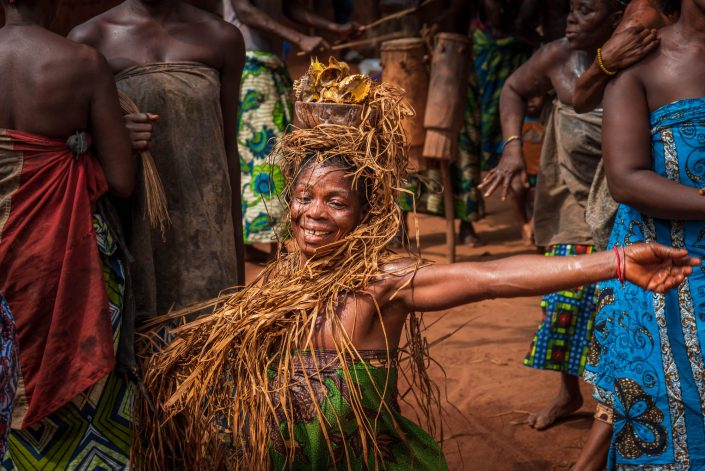 Dancing during a voodoo ceremony