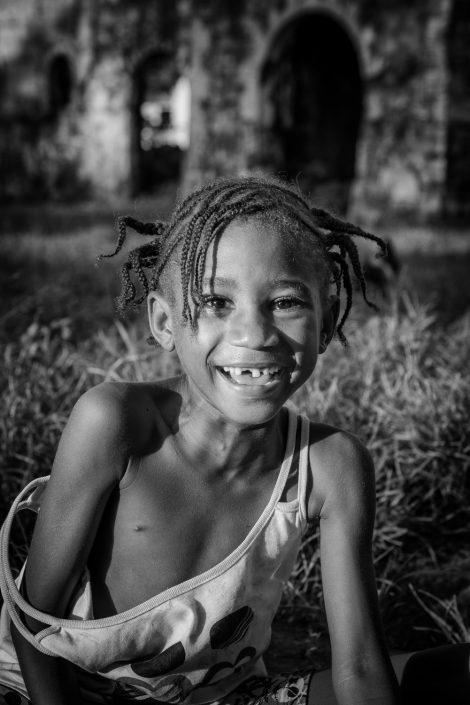 smiling girl black and white